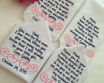 Set of three custom wedding handkerchiefs hankies