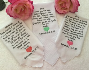 Set of three custom wedding handkerchiefs hankies
