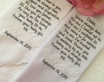 Set of two personalized handkerchiefs wedding for mother and father of the bride