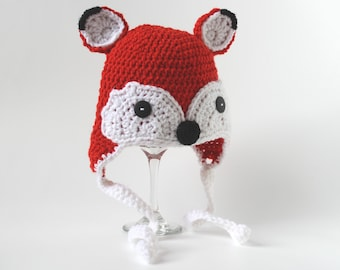 Fox Hat with Ear Flaps, Crochet, Infant, Baby, Toddler, 2T-4T, Child