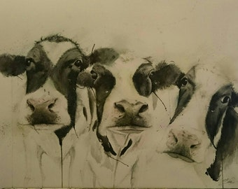 animal painting,cows,watercolour and ink,Hello!