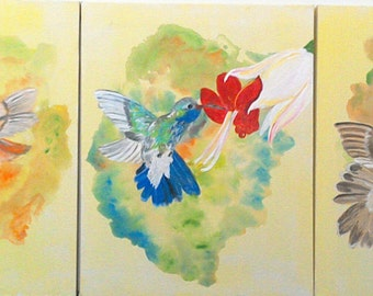 Acrylic Painting- Three Lovely Hummingbirds