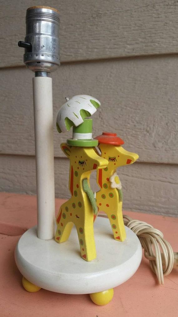 Vintage Irmi Giraffe Couple Wooden Lamp Children S