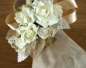 Vintage styled wrist corsage in cream,Ivory, Gold