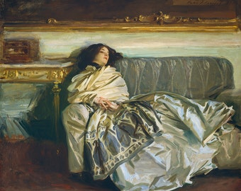 Old Masters - John Singer Sargent, Nonchaloir (Repose), American, home decor, wall art, vintage painting, woman sitting, vintage art