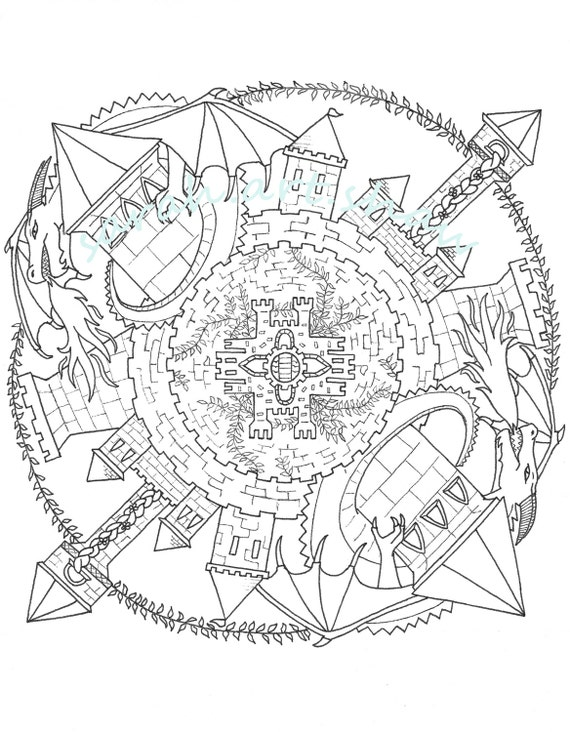 Items Similar To Adult Coloring Page Mandala Castle On Etsy