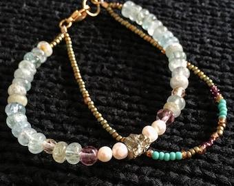 Pyrite, Crystal, Quartz, Freshwater Pearl Bracelet; Handmade in Portland