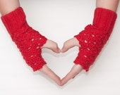Crochet Lace Red Mittens Cozy Fingerless Gloves Arm Warmers Women's Hand Warmers Wrist Warmers
