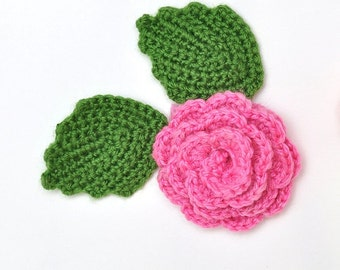 Crochet Flowers Applique Pink Rose Green Leaves