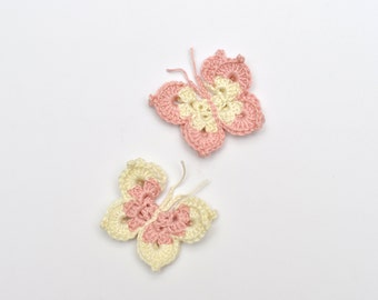 Crochet Butterfly Applique Pastel Pink White