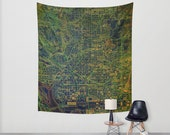 Green Wall Tapestry, Large, Washington 1945 Map - Available in three sizes. Wall Tapestry office decor, Abstract Vintage colorful map