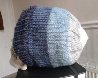 Blue-to-White Striped Hand-knitted Beanie Hat