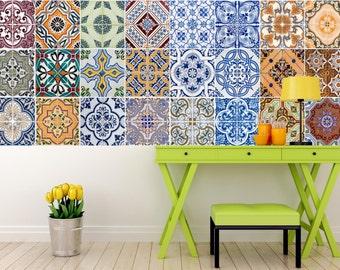 Set of 24 Tiles Decals Tiles Stickers mixed Tiles for walls Kitchen Bathroom HA3