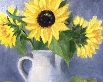 Sunflowers, Original 8x10 Oil Painting on Canvas