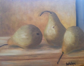 Pears, Original 9x12 Oil Painting on Canvas, Fruit, Still life