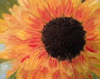 Sunflower in Bloom, Original 9x12 Oil Painting on Canvas