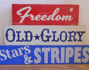 Patriotic Wood Sign • Freedom Old Glory Stars & Stripes wood sign • home decor • patriotic decor • reclaimed wood sign