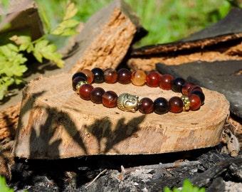 Skanda: Natural Agate & AntiqueGold Buddha bracelet.