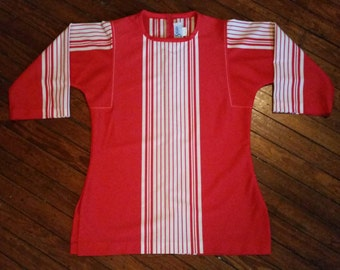 Womens Vtg 60's Red and White Striped Tunic