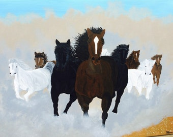 Painting of a running horses.Acrylic on canvas. 91 cm x 61 cm