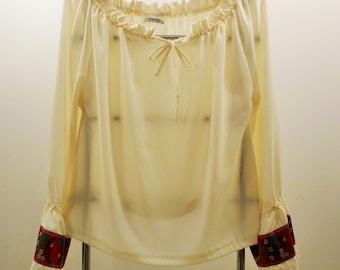 Women's Blouse.  Slovak Peasant-Style. Handmade.  Czech-made ribbon.