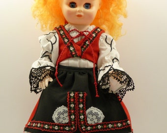 Doll.  Czech / Slovak Kroj.  13 inches tall.  6-piece handmade outfit.
