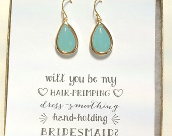 Mint Earrings, Bridesmaid Jewelry, Bridesmaid Mint Green Earrings, Mint Gold Earrings, Bridal Party Gifts, ES1