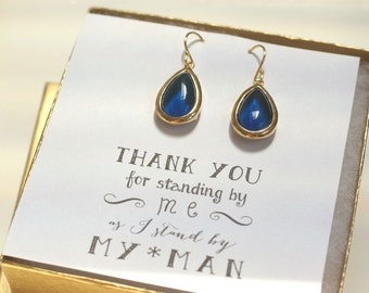 Navy Blue Gold Earrings, Bridesmaid Teardrop Earrings, Navy Blue Bridal Earrings, Bridesmaid Jewelry Gift, Bridal Party Gifts, ES1