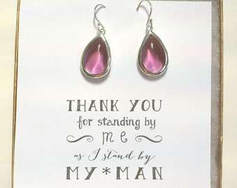Set of 5 Earrings, Plum Earrings - Earrings For Bridesmaids, Bridesmaid Plum Earrings, Bridesmaid Jewelry, Bridesmaid Earrings Set of 5, ES5