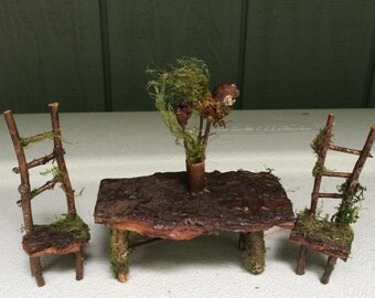 Fairy Dining Table & Chairs Miniature Pixie Woodland Bark Moss Twigs - SALE