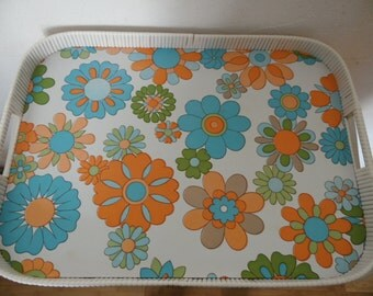 Large serving tray floral vintage so 70