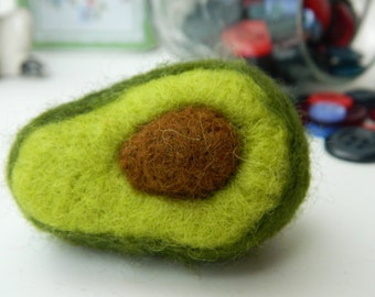 Needle Felted Avocado Brooch