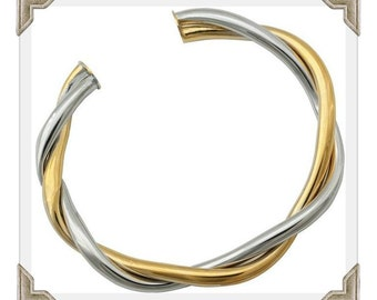 Gold Bangle 18ct Gold Bangle Gold Filled Twist Bangle Gold Filled Platinum Bangle 18k Gold Filled BangleTwo Tone Gold Filled Bangle