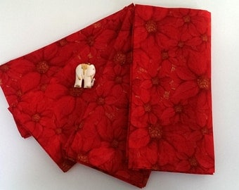 Christmas Poinsettia Napkins - Set of 4