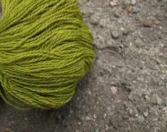 Olive Green Light Green 100% Natural Wool Yarn 100g