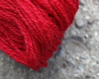 Red 100% Natural Wool Yarn 100g