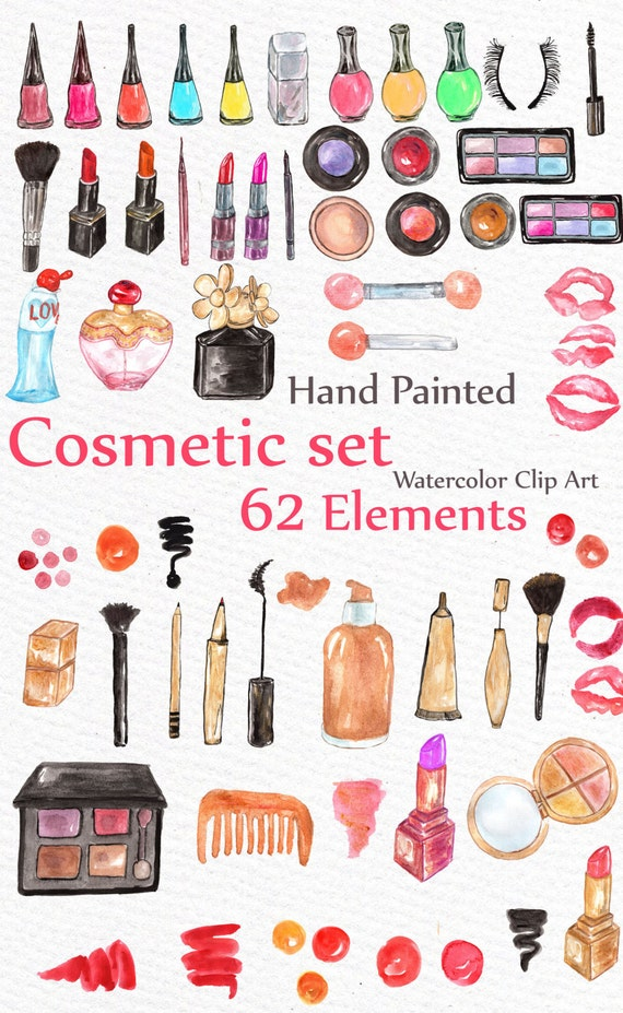 "Makeup Clip Art: Watercolor Makeup Clipart: ""COSMETIC CLIP ART"" Makeup Set"