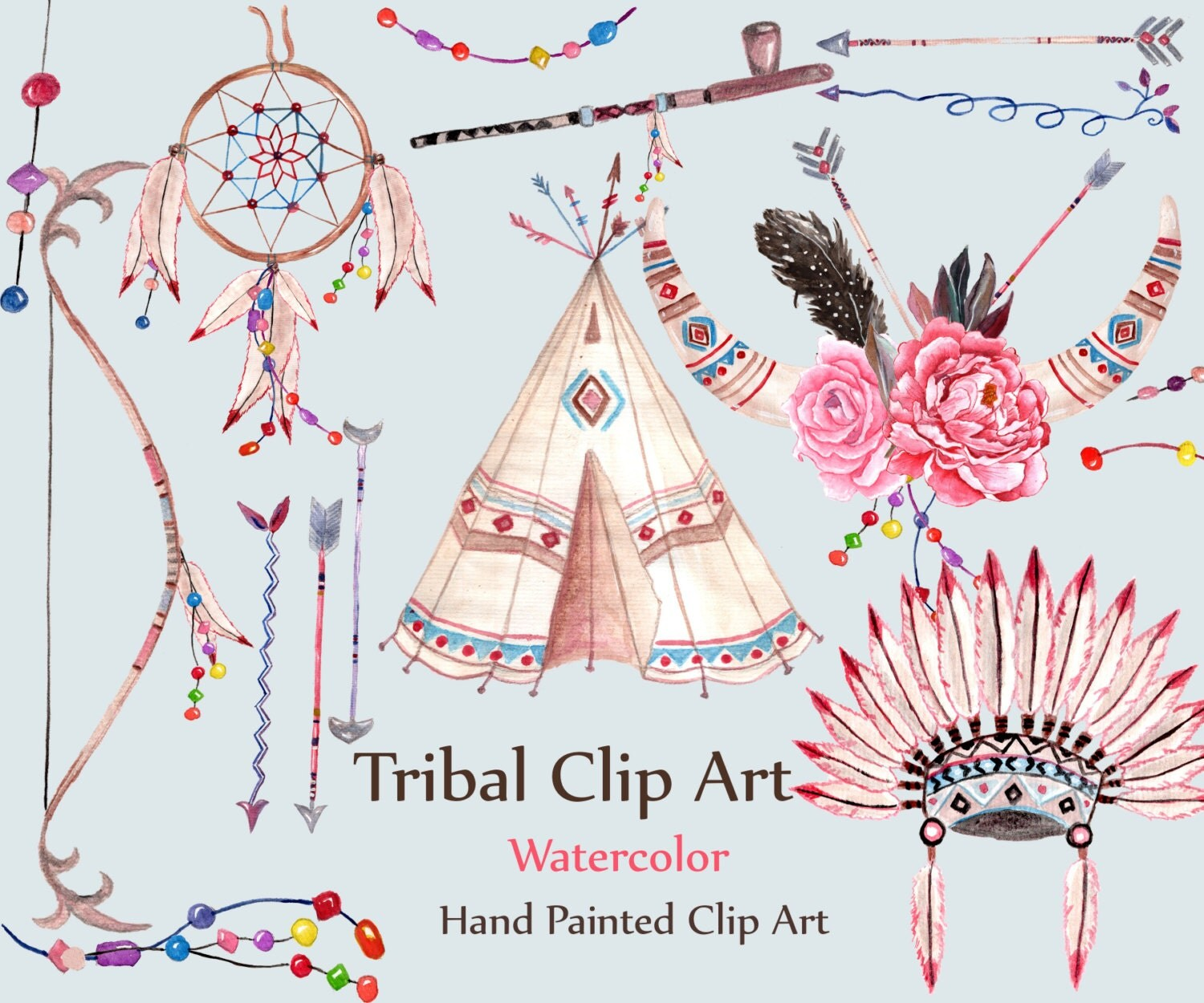 Watercolor tribal clipart: TRIBAL CLIP ART dream by LeCoqDesign