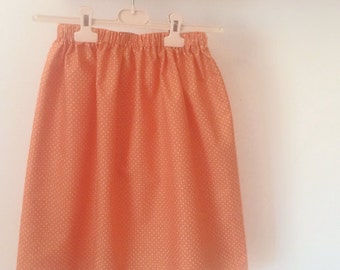 Orange cotton skirt with white polka dots, original vintage fabric