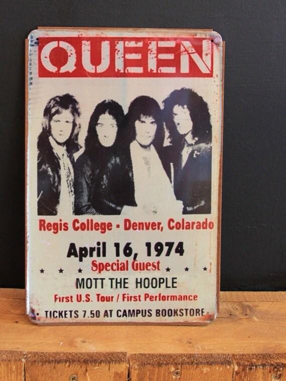 Queen April 16.1974 Concert Denver Big Vintage Style Retro Metal Sign( 20x30cm )