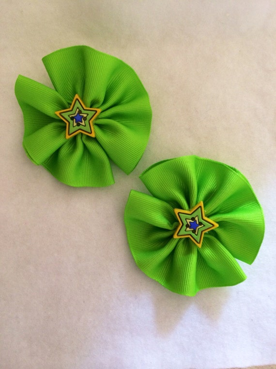 Hair Clip Pin Wheel Bright Green for Little Girls