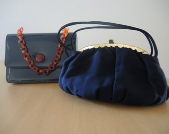 Blue Vintage Purses, One for Daytime and One for Dress Up or Nightime