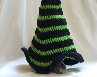 Witch Hat, Crochet Witch Hat, Costume Hat, Teen Striped Witch Hat, Teen Halloween Costume Hat, Crochet Striped Teen Hat black and green