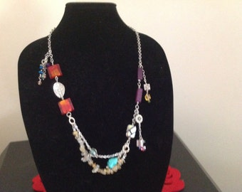Boho chic multiple chain bead necklace