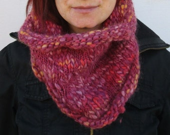 woman's knitted chunky wool cowl, multicolored neck warmer