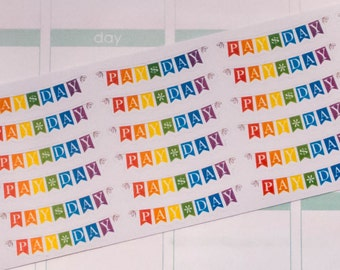 Payday Daily Banner Planner Stickers - 30 Count - White Text