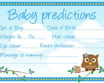 10 Baby shower prediction cards. Keepsake, game. Blue owl theme