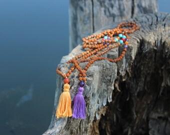 Spiritual One Mini Mala (6mm Rudraksha beads and Amethyst, Turquoise, Red jade, Yellow Quartz marker and guru beads)