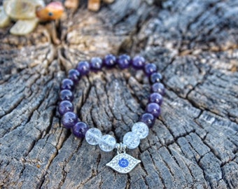 Amethyst and Natural Crystal Bracelet with Evil Eye charm