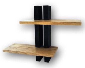 Small oak shelves - wall shelves handmade in the UK (two shelf system)